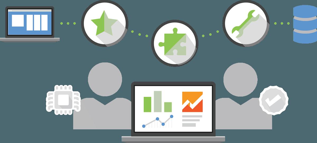 A plataforma Qlik Analytics consiste nos seguintes componentes: